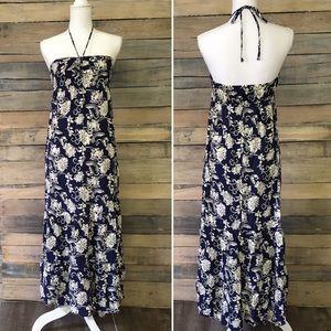 MOSSIMO Grecian Halter Boho Floral Maxi Dress M